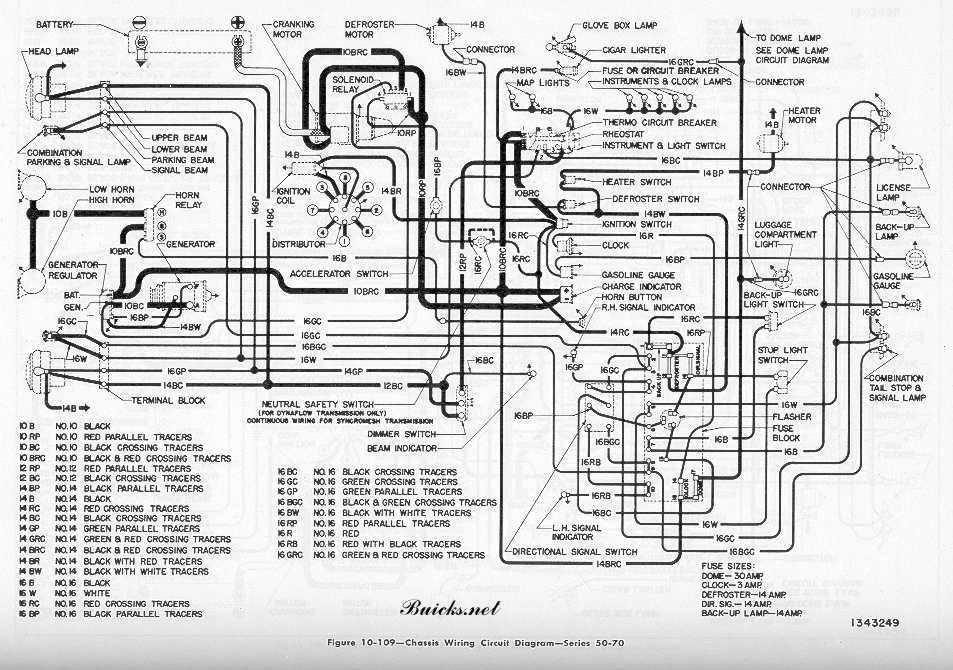 1951 Buick Chassis Wiring Diagram - Series 50-70