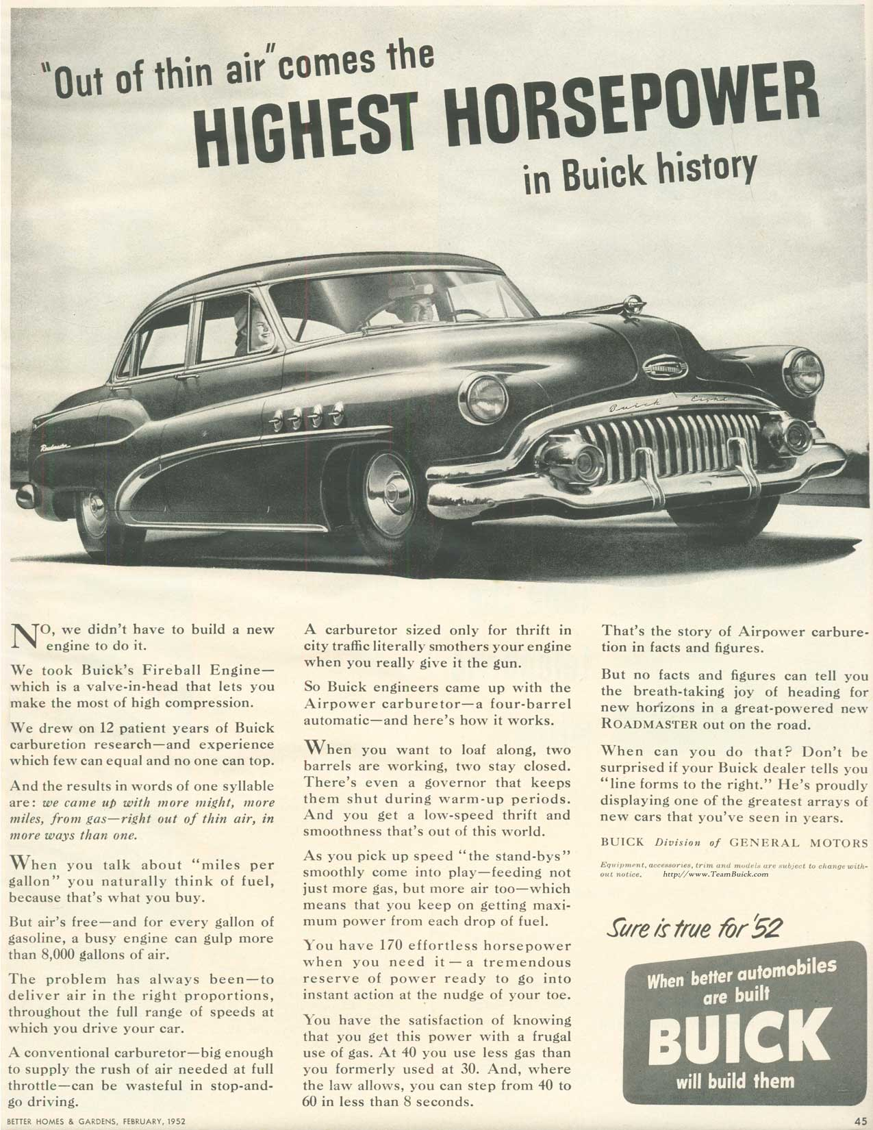 1952 Buick Roadmaster, Highest Horsepower