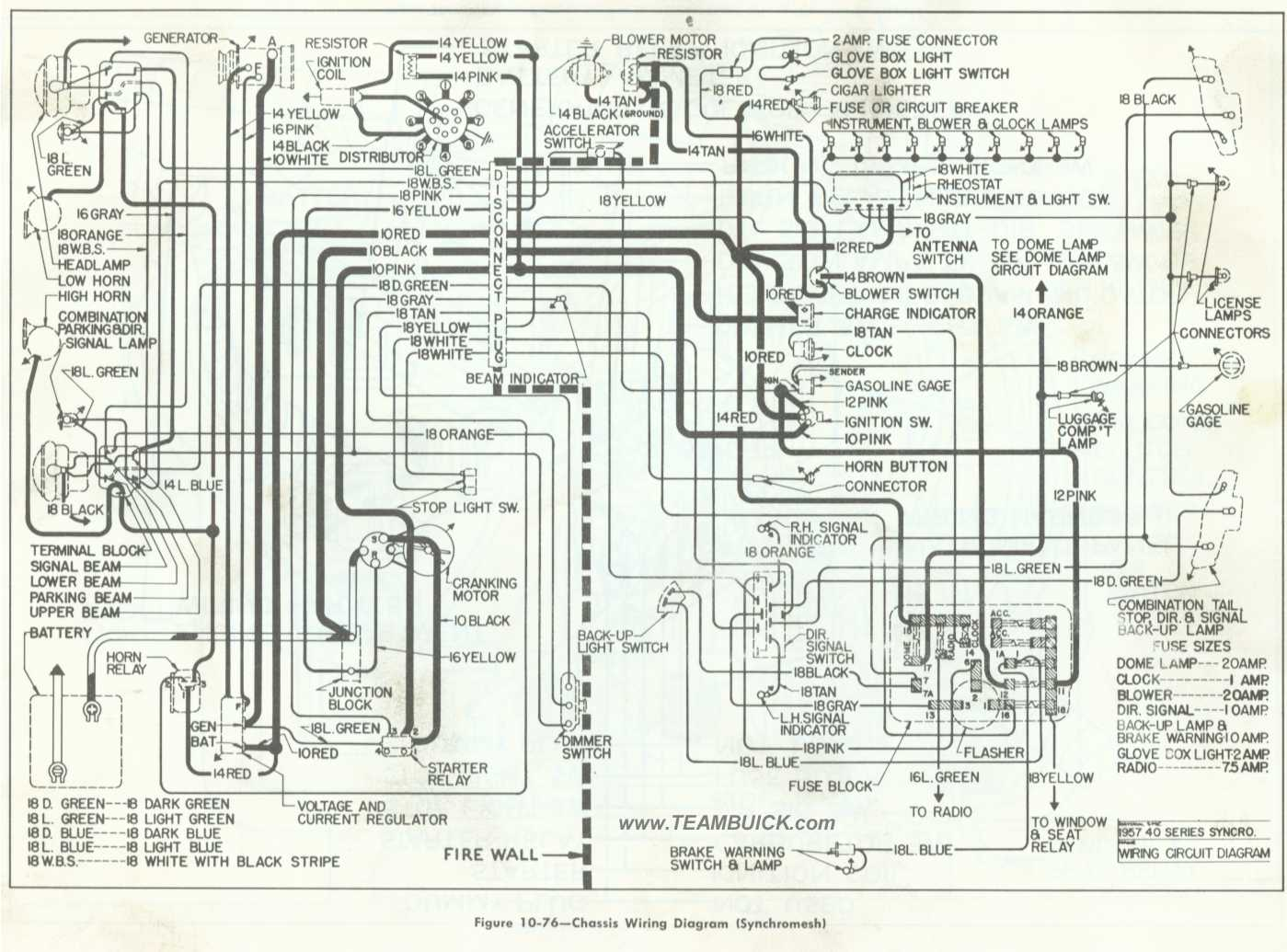 1957 Buick Chassis Wiring Diagram   Synchromesh