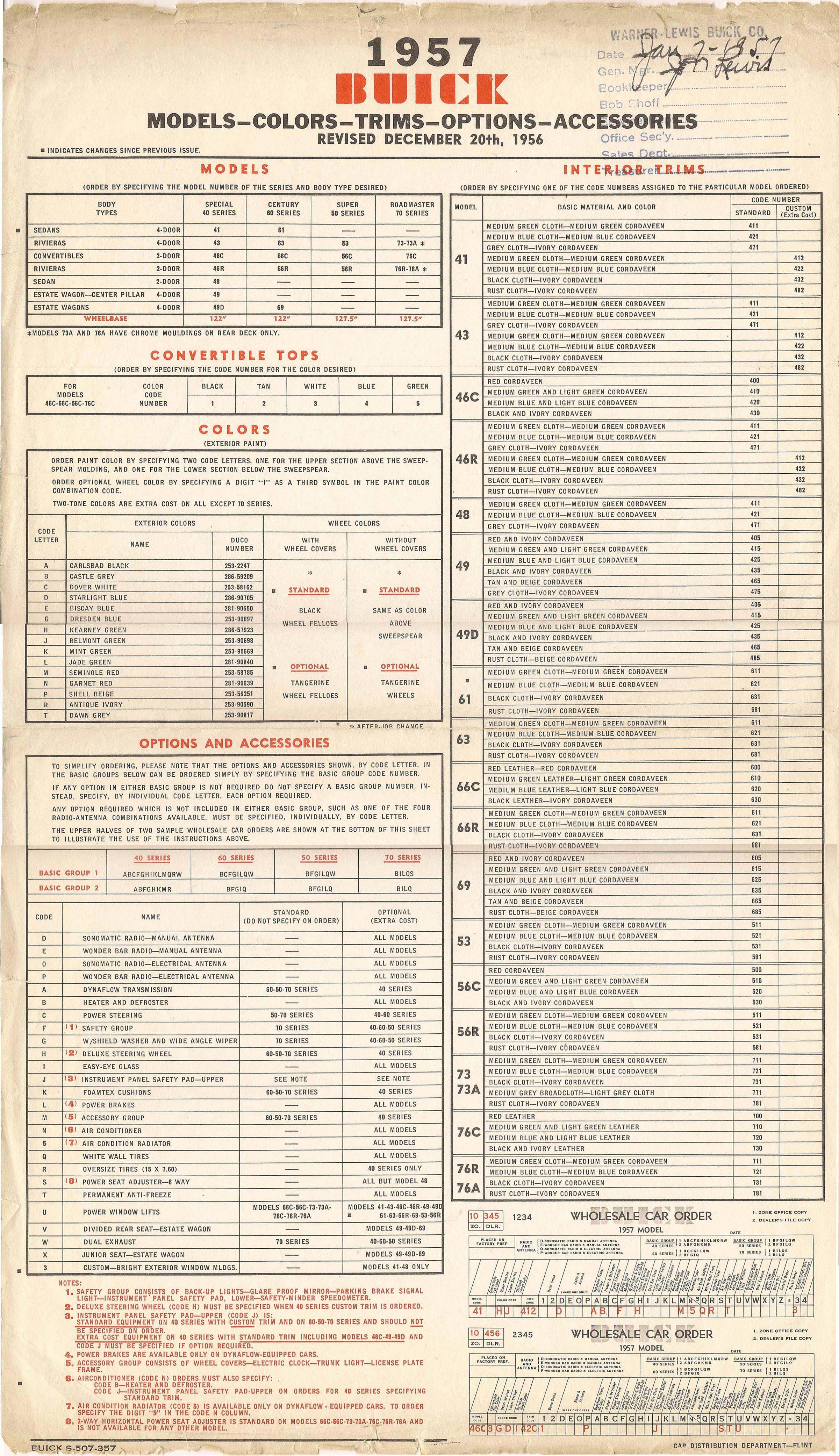 1957 Buick Order Form