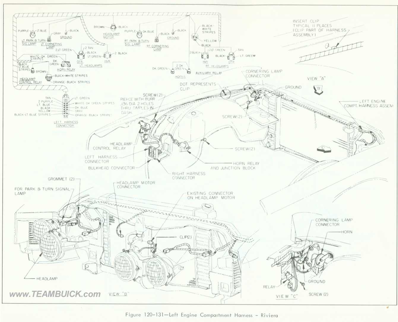 1966 Buick Riviera  Left Engine Compartment Wiring