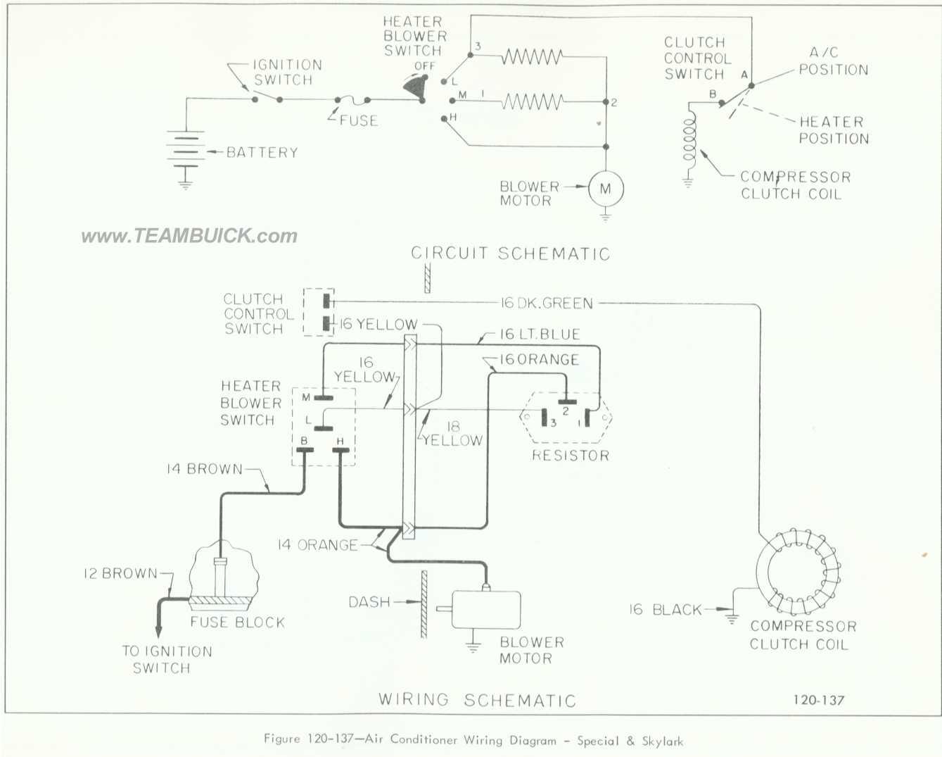 1966 Buick Special  Skylark  Air Conditioner Wiring Diagram