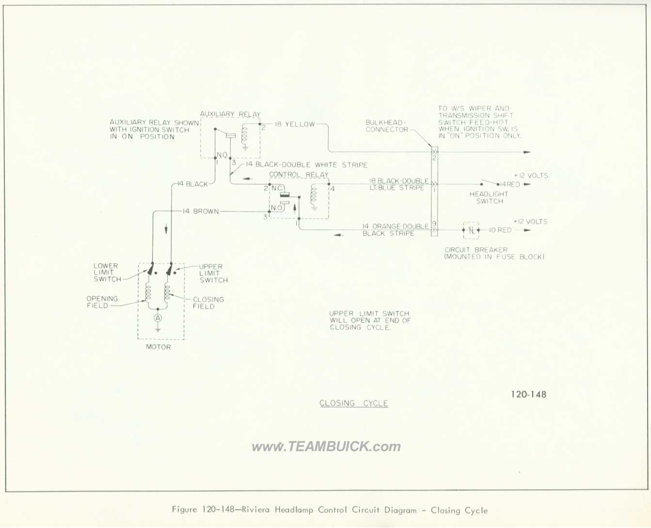 1966 Buick Riviera Headlamp Control Circuit Diagram Closing Cycle 120 Volt Relay Wiring