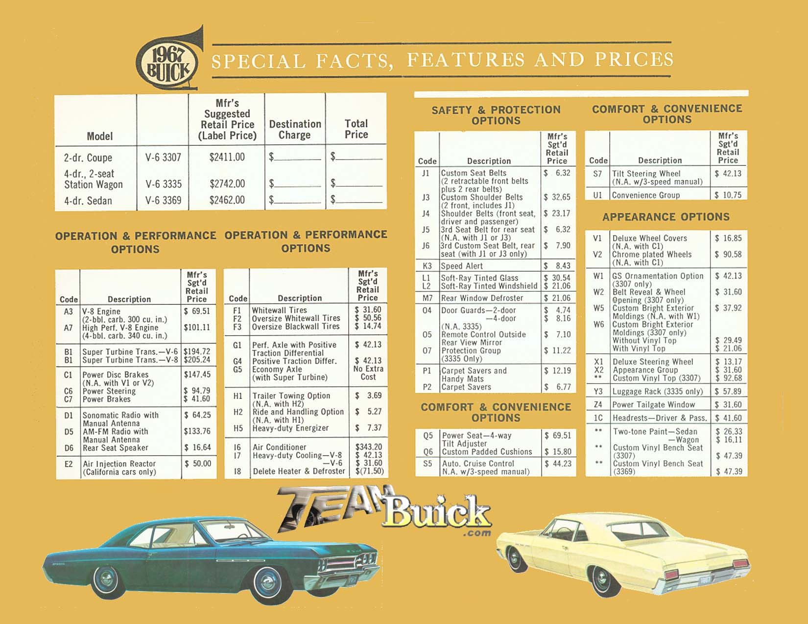 1967 Buick Special Opions and Codes