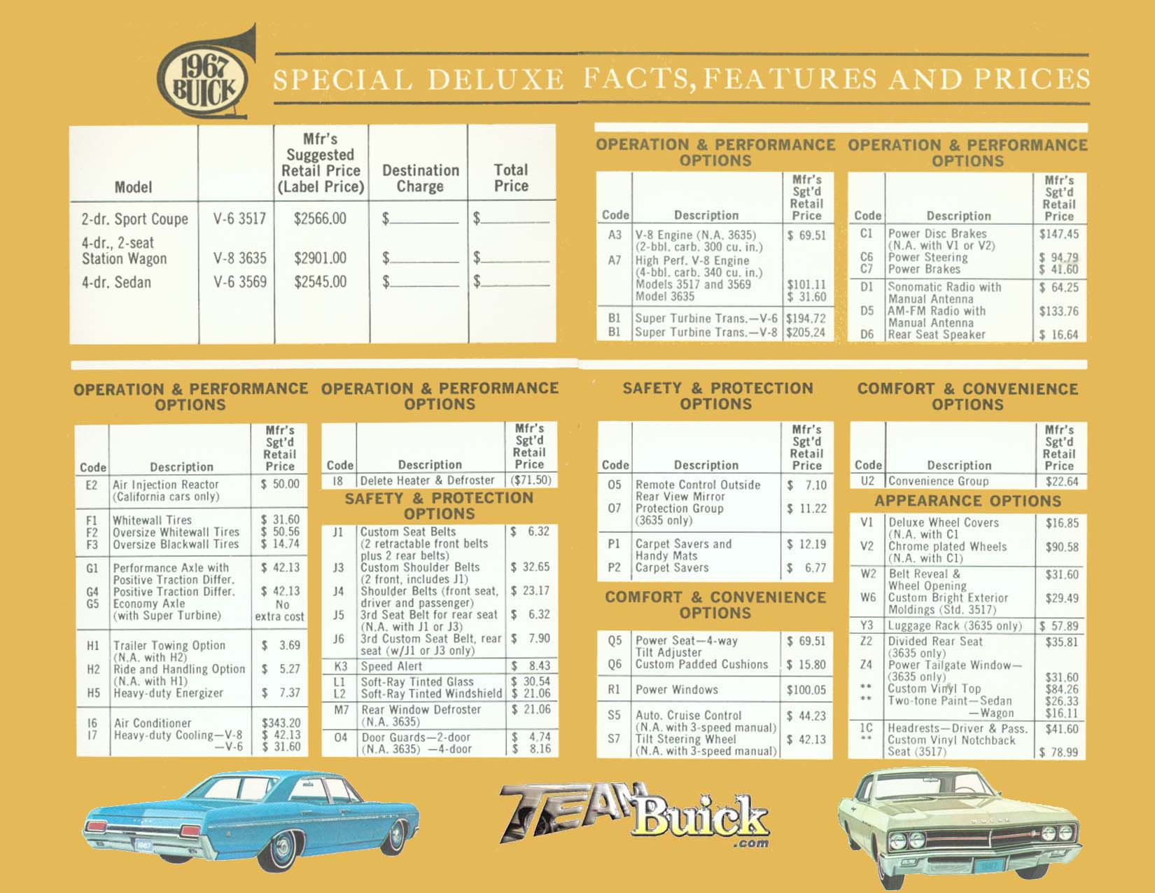 1967 Buick Special Deluxe Options and Codes