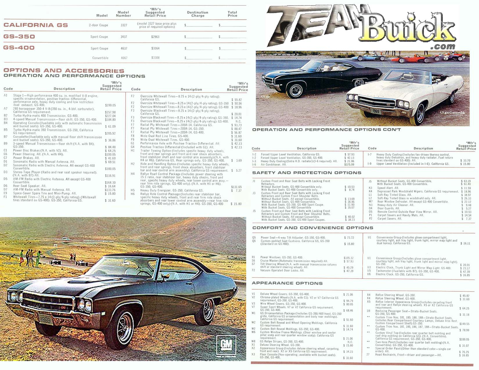 1969 Buick GS 400 Options and Codes