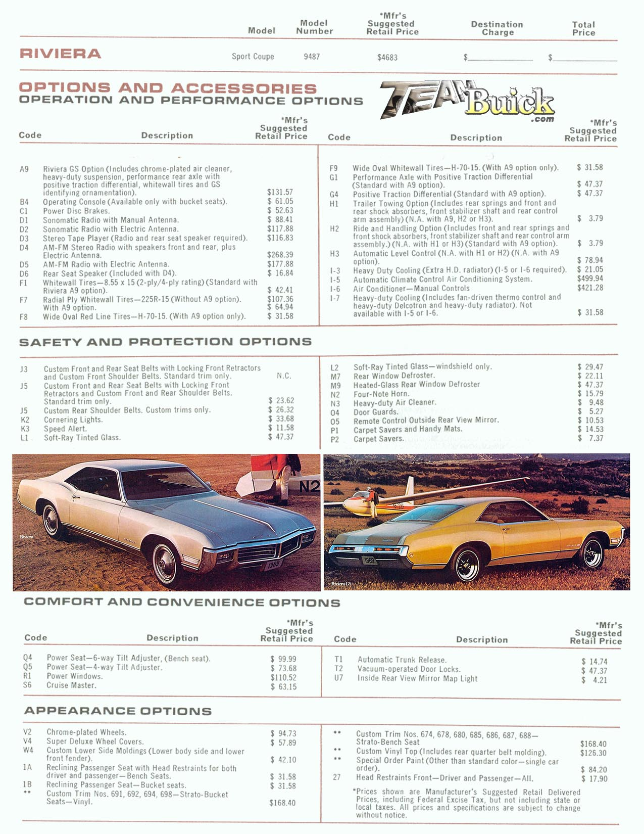 1969 Riviera Options and Codes
