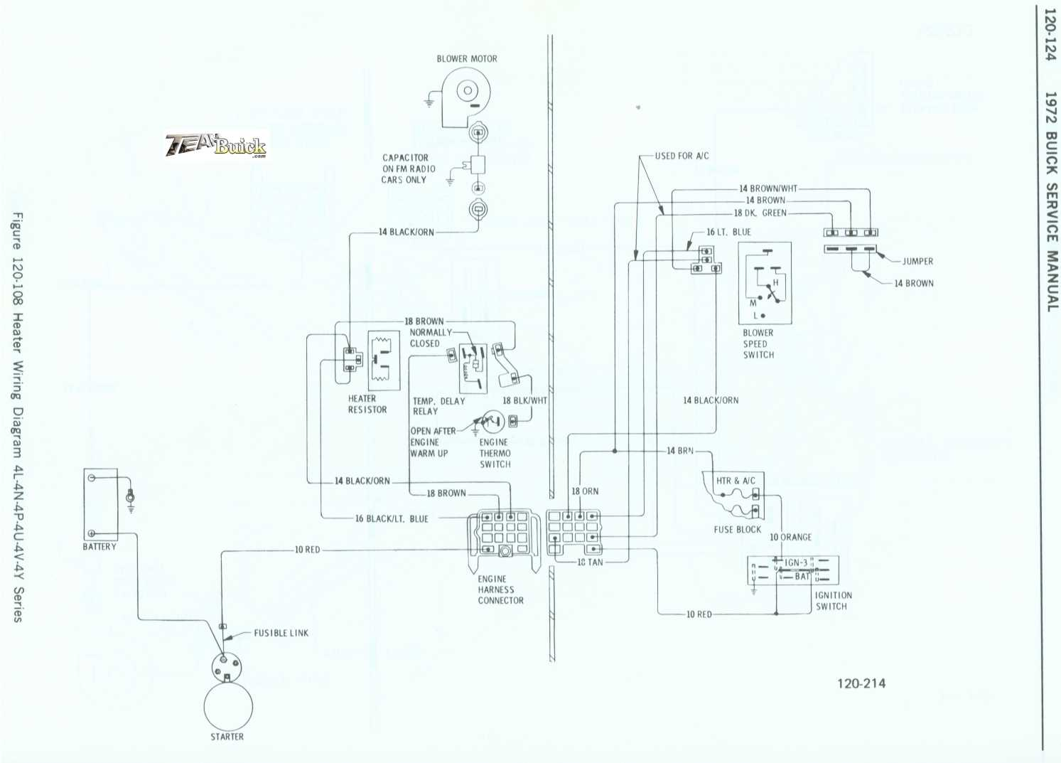 1972 Buick  Heater Wiring Diagram 4l