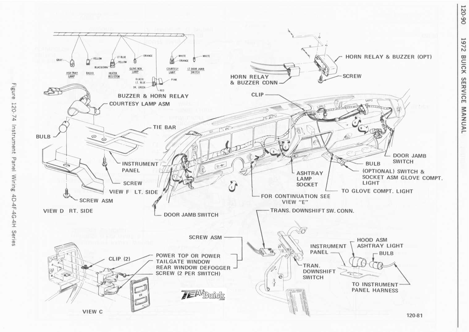 1972 Buick Instrument Panel Wiring