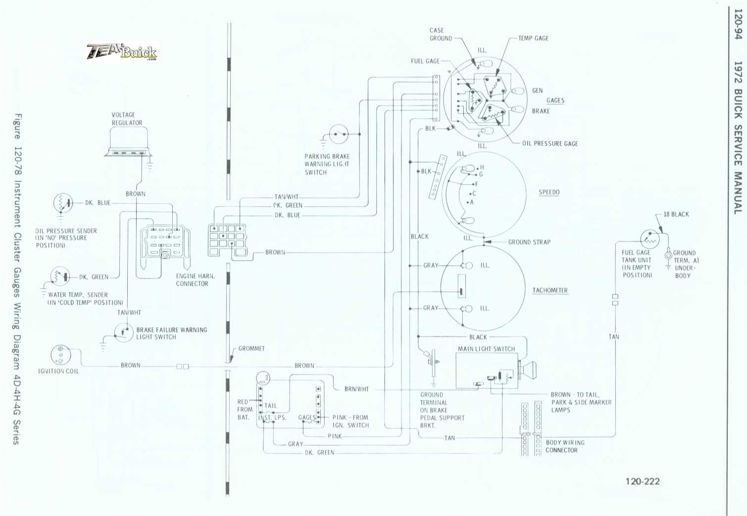 1972 Buick Instrument Cluster Gauges Wiring Diagram
