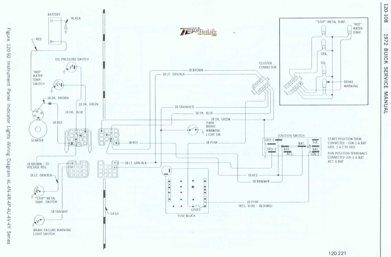 1972 Buick Instrument Panel Indicator Lights Wiring Diagram 4l
